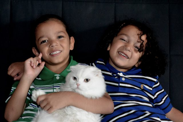 two boys with cat
